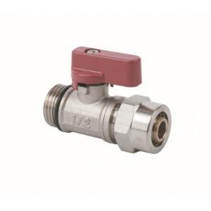 """Ventil PEX kulový mini 1/2"""" x 16mm červený"""