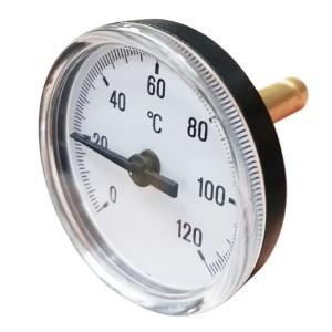 Teploměr 63mm 0-120°C axiální, zadní vývod