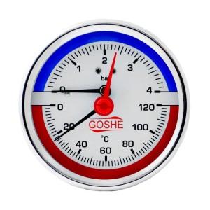 Термоманометр 0-6 бар 80 мм заднее подключение