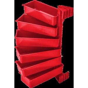 Pojemniki obrotowe PIVOT (zestaw 6 szt.) czerwone