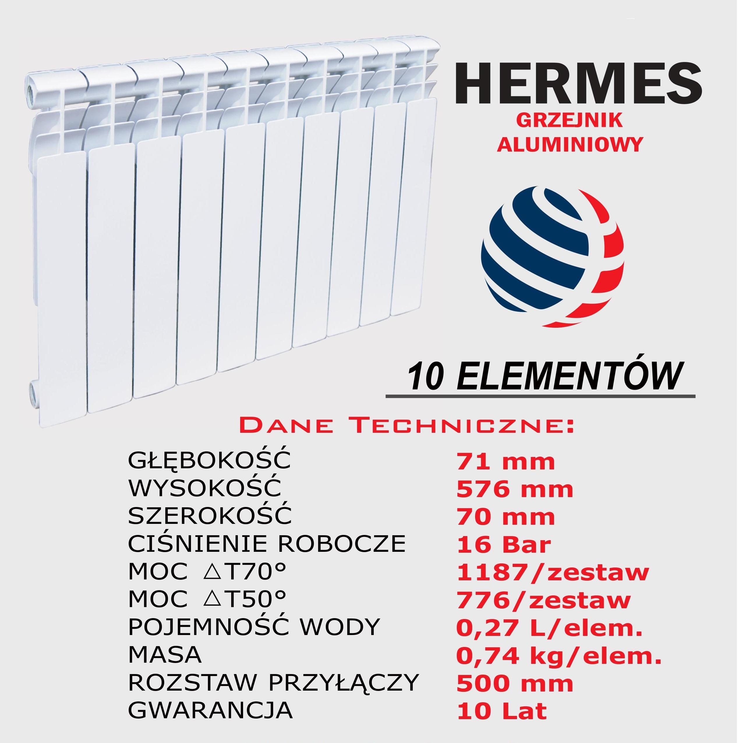 Aluminiowy grzejnik żeberkowy HERMES 70 mm
