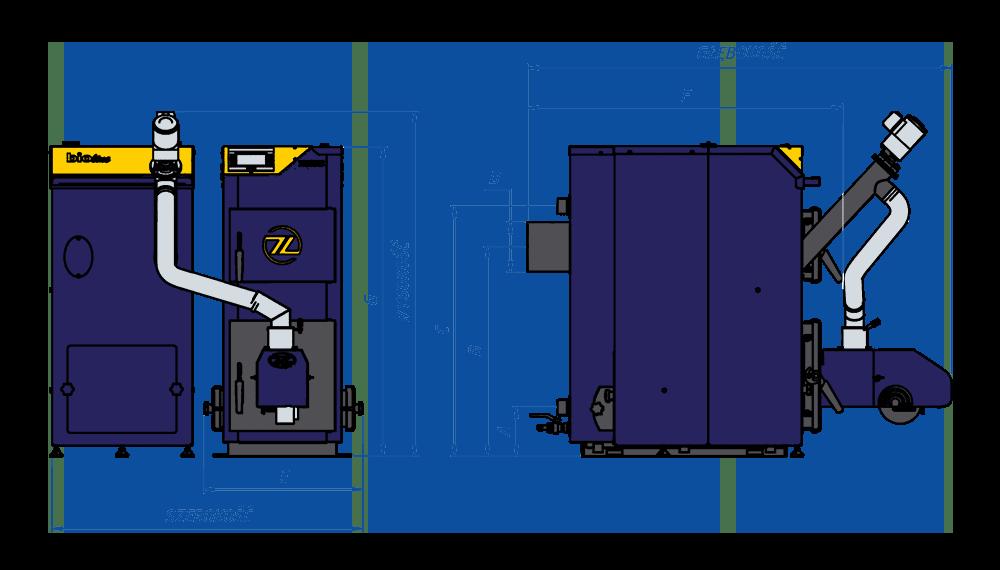 Wymairy kotła pelletowego ZĘBIEC AGAT - schemat, rysunek