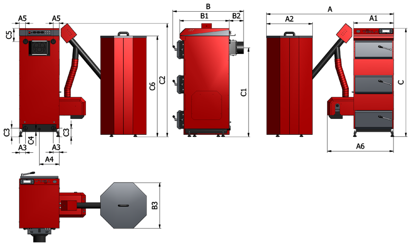 Kocioł na pellet Tekla DRACO BIO 12 kW - dane techniczne i wymiary, fot. 1
