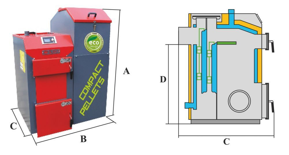 Kocioł na pellet KBO COMPACT PELLETS o mocy 34 kW - parametry