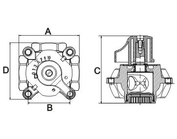 Zawór trójdrogowy DN32 - wymiary schemat