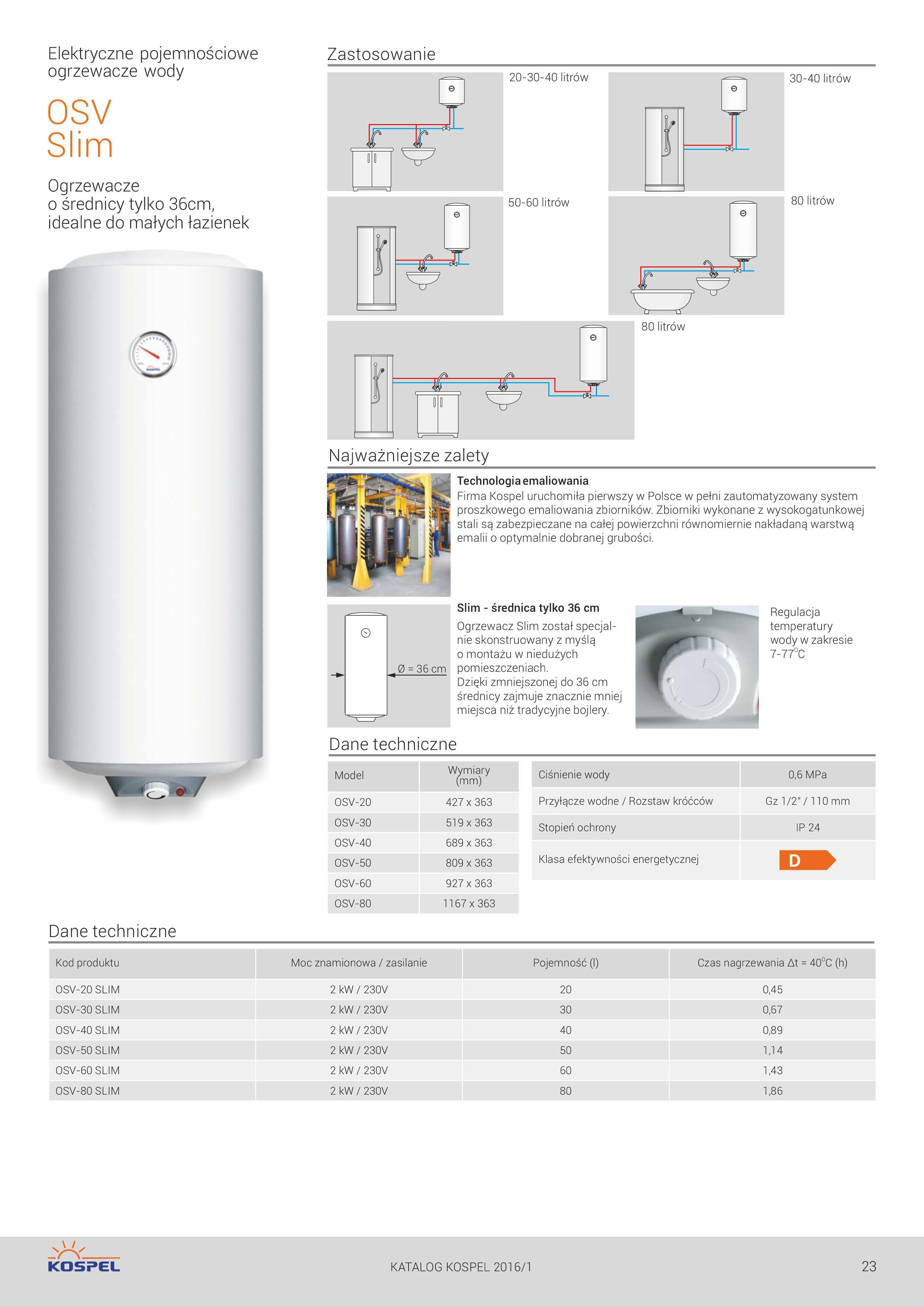 Elektryczny, pojemnościowy podgrzewacz wody KOSPEL SLIM 40 l